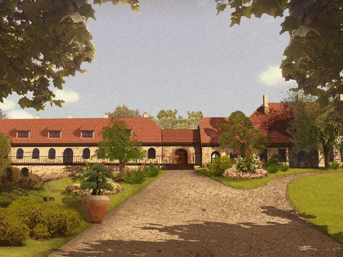 dwór historyczny zabytkowy pałacyk gospodarstwo Dworek na Mazurach
